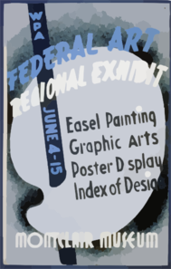 Wpa Federal Art Regional Exhibit, Montclair Museum Easel Painting, Graphic Arts, Poster Display, Index Of Design. Clip Art
