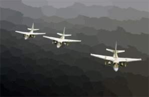 S-3b Viking Aircraft Assigned To The Dragonfires Of Sea Control Squadron Two Nine (vs-29), Fly Over The Western Pacific Ocean. Clip Art