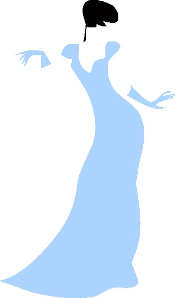 Lovely Woman In A Blue Dress Clip Art At Clker Com