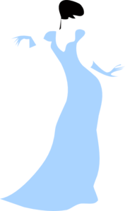Lovely Woman In A Blue Dress Clip Art