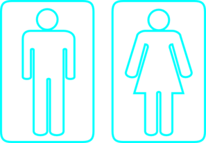 Toilet Outline Cyan Clip Art