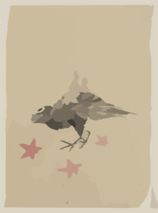 [a Bird, Possibly Crow Or Raven, Facing Left, Standing Among Leaves With Head Cocked As Though Looking Closely Or Listening] Clip Art