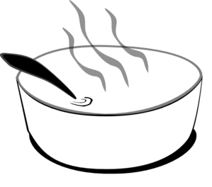 Flying Soup Bowl In Gray Scale Clip Art