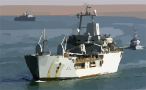 The Royal Fleet Auxiliary, Landing Ship Logistic Rfa Sir Galahad (l 3005) Arrives In The Iraqi Port City Of Umm Qasr Clip Art