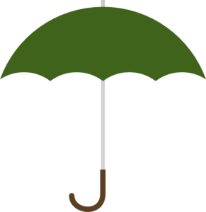 Dark Green Umbrella W Brown J Handle Clip Art