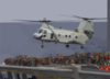 A Ch-46 Helicopter Transports Supplies From The Military Sealift Command Auxiliary Oiler Usns Guadalupe (t-ao 200 ) To The Amphibious Command Ship Uss Mount Whitney (lcc 20). Clip Art