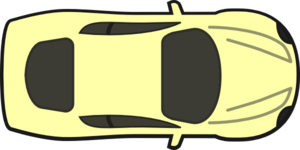 Yellow Car, Top View Clip Art