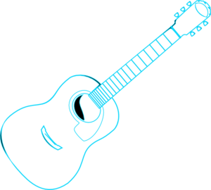 Guitar Outline Blue Clip Art