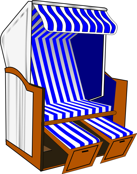 Strandkorb clipart  Beach Chair With Blue Striped Awning Clip Art at Clker.com ...