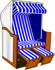 Beach Chair With Blue Striped Awning Clip Art