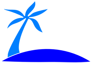 Blue Palm Tree Beach W/sun Clip Art
