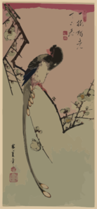 Plum Blossom And Magpie (long Tailed Cock Onagadori). Clip Art