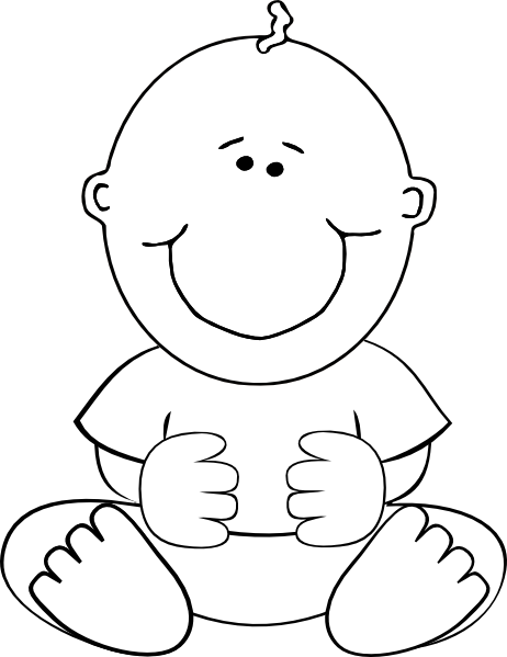 Line Drawing Baby : Sitting baby outline clip art at clker vector