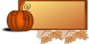 Pumpkin Banner Leaves Clip Art