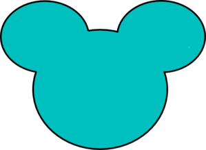 Teal Mickey Mouse Outline Clip Art