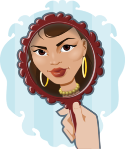 Woman Looking In Mirror Clip Art