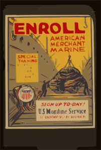 Enroll American Merchant Marine Special Training - Deck Department, Engineering, Radio, Steward, Cooks, Etc. : Sign Up To-day! Clip Art