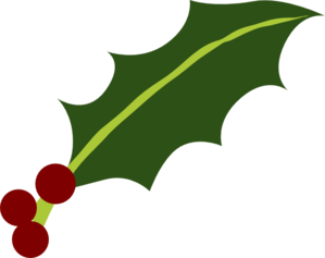 One Holly Leaf 3 Berries Clip Art
