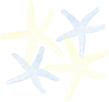 Starfish Prints In Yellow & Blue Clip Art