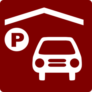 Hotel Icon Has Indoor Parking Clip Art - Red/white Clip Art
