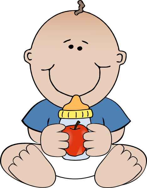 Baby Drinking A Bottle Clip Art