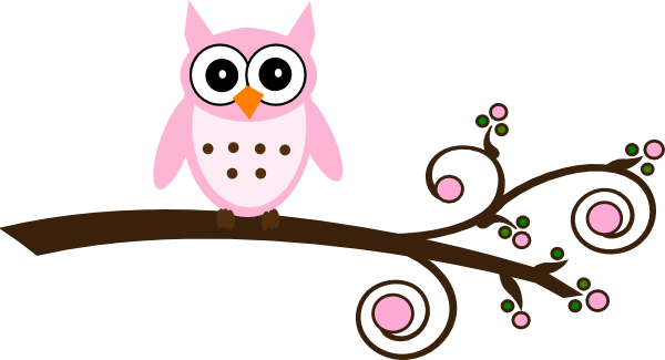 pink owl on branch clip art at clker com vector clip art online rh clker com