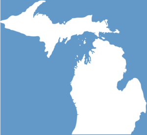 Michigan, Solid White, Light Blue Background Clip Art