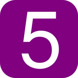 Purple, Rounded, Square With Number 5 Clip Art
