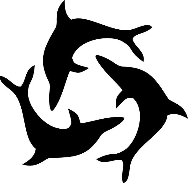 Black Dolphin Triad Clip Art at Clker.com - vector clip ...