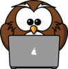 Owl Using A Laptop Clip Art