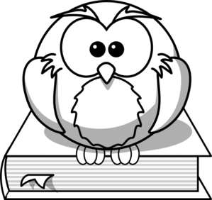 Owl On Book Outline Clip Art