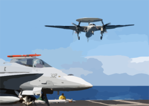 An E-2c Hawkeye Assigned To The Bear Aces Of Carrier Airborne Early Warning Squadron One Two Four (vaw-124) Makes Its Final Approach Clip Art