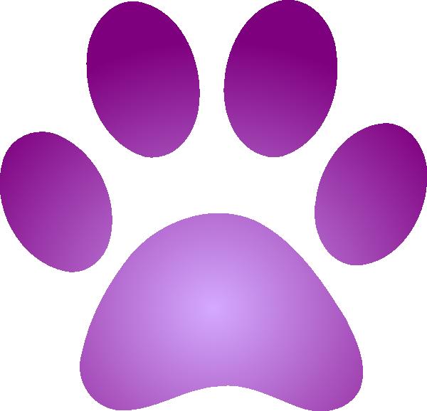 Purple Paw Print With Gradient Clip Art at Clker.com - vector clip art ...