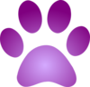 Purple Paw Print With Gradient Clip Art