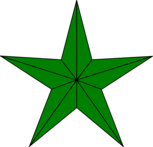 Green Lined Star Clip Art