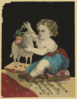 Kid Playing With Sheep Doll Clip Art