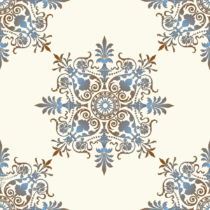 Blue & Brown Victorian Pattern Clip Art