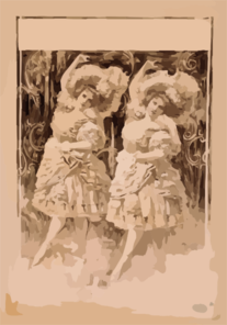 [two Women Dancing In Ruffled Costumes And Hats] Clip Art