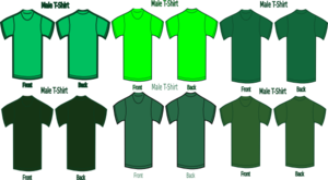 Six Green T Shirts Clip Art