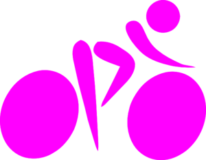 Pink Cycling Silhouette  Clip Art