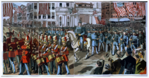 [union Soldiers And Band Marching Through A City Street On Their Way To Join The Civil War] Clip Art