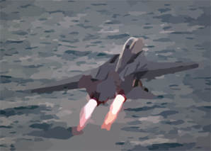 An F-14 Tomcat Assigned To The Checkmates Of Fighter Squadron Two One One (vf-211) Launches From The Flight Deck. Clip Art