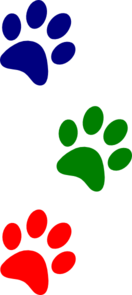 Paws Red Blue Green Clip Art