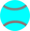 Teal Baseball, Red Lacing Clip Art