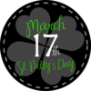 St Patricks Day Button Black Clip Art