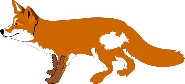 orange cartoon fox clipart