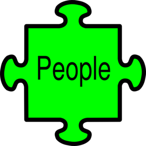 Jigsaw People Green Clip Art