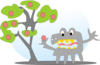 Tree With Apples And A Monster Clip Art