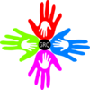 Four Colored Hands Grq Clip Art