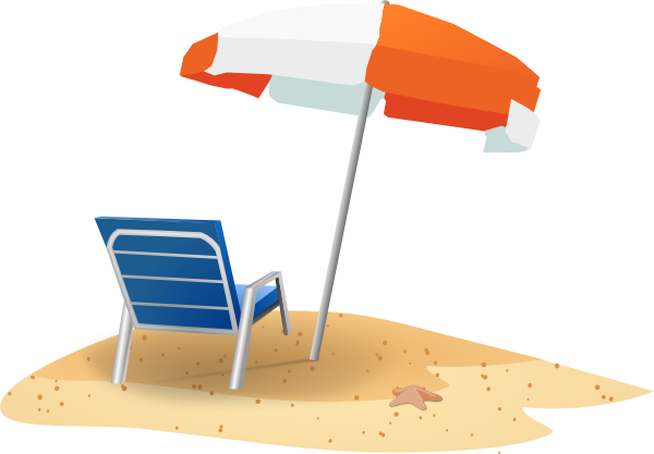 Beach chair and umbrella clip art at clker vector clip art download this image as voltagebd Gallery